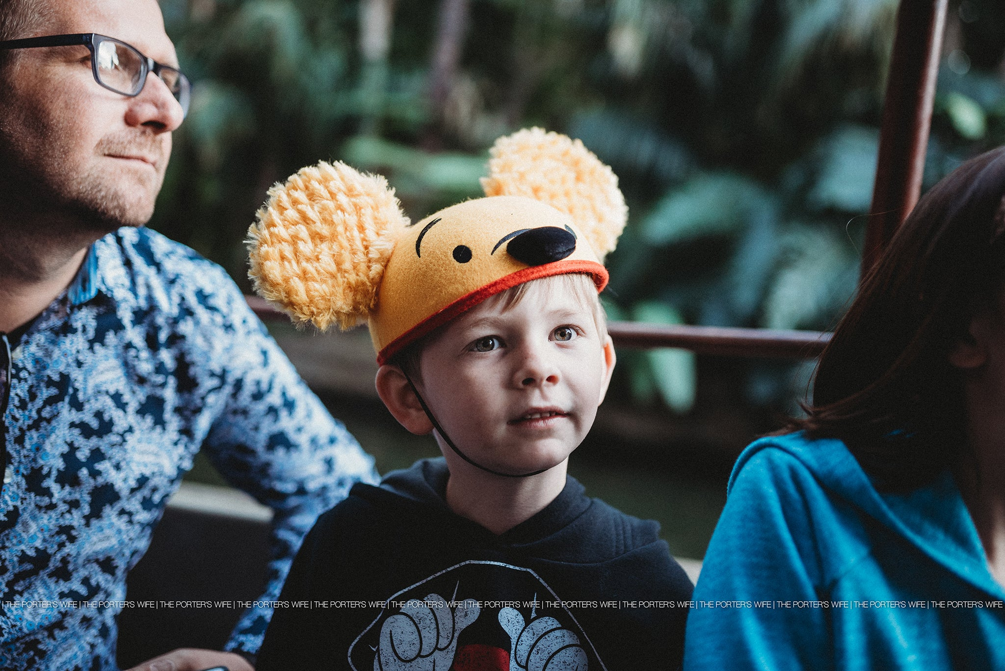 Disney World Photography - Winnie The Pooh Ears sitting with Dad at Disney