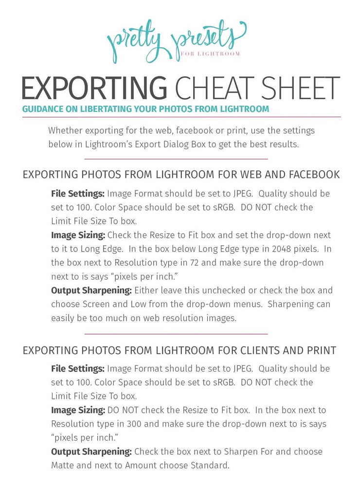 Exporting Your Photos From Lightroom for Print – Pretty