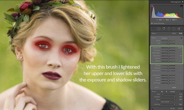 Using exposure and shadow brush to lighten eyes in Lightroom
