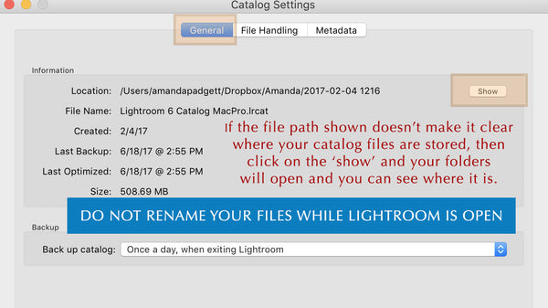 Finding file path to Lightroom Catalog