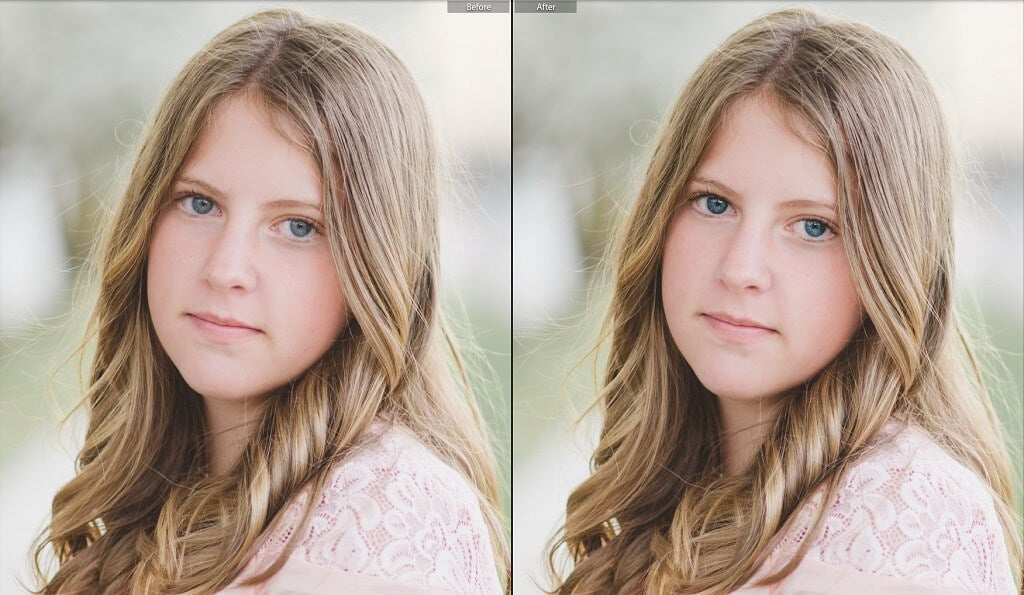 Before and After brightening eyes in Lightroom