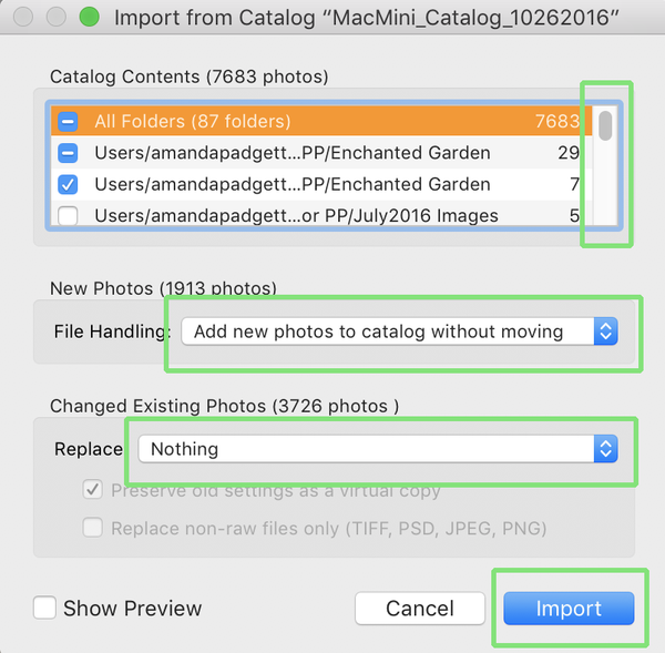 Menu for importing another Lightroom catalog