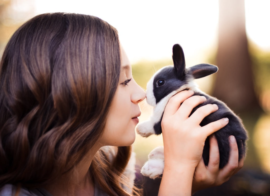 Girl with her bunny