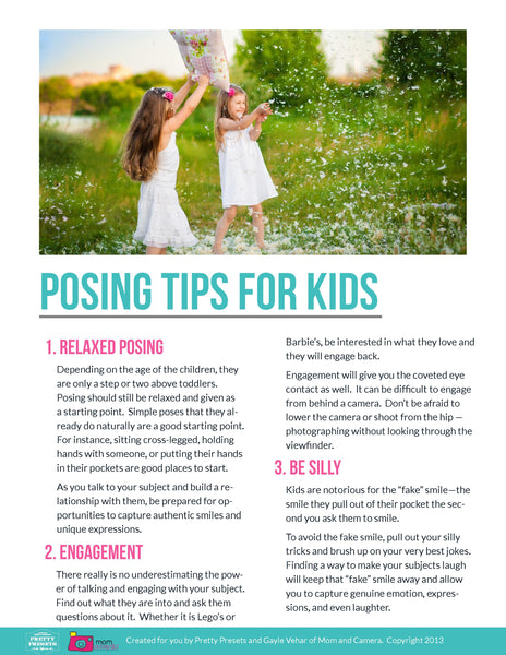 Free Posing Guide from Pretty Presets for Lightroom: Posing Tips for Children