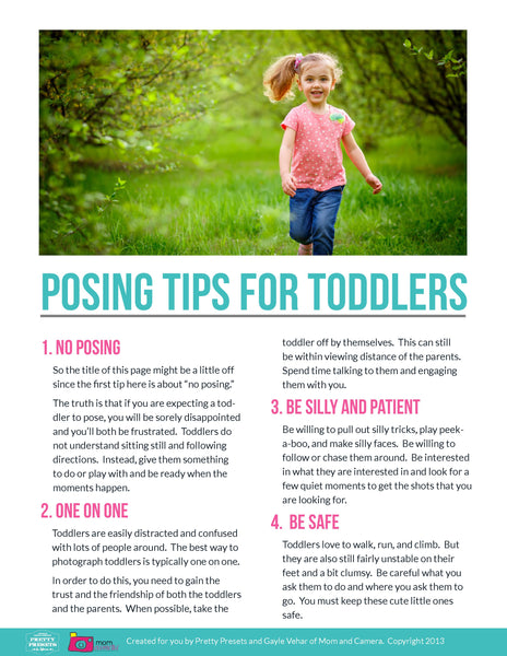 Free Posing Guide from Pretty Presets for Lightroom: Posing Tips for Toddlers