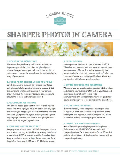 Free Cheat Sheet: Sharper Photos in Camera