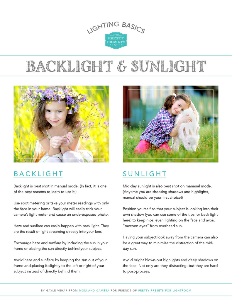 Free Cheat Sheet for Photographing in Backlight and Sunlight | Lightroom Presets