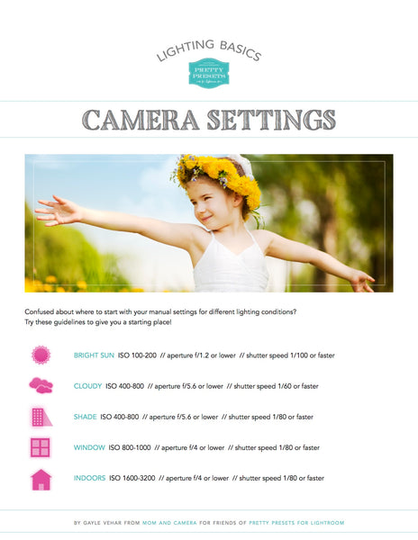 Camera Setting Cheat Sheet