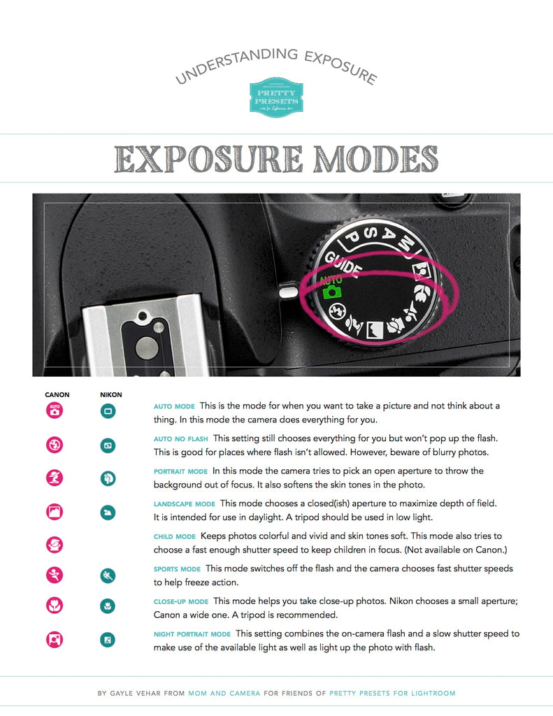 Free Photography Cheat Sheet: Exposure Modes