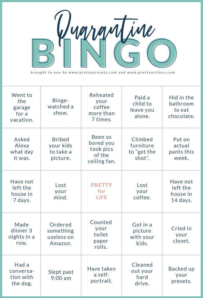 Pretty Quarantine Bingo for Photographers