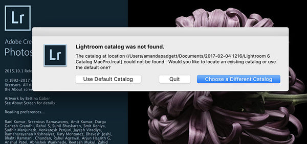 Lightroom catalog not found due to renaming
