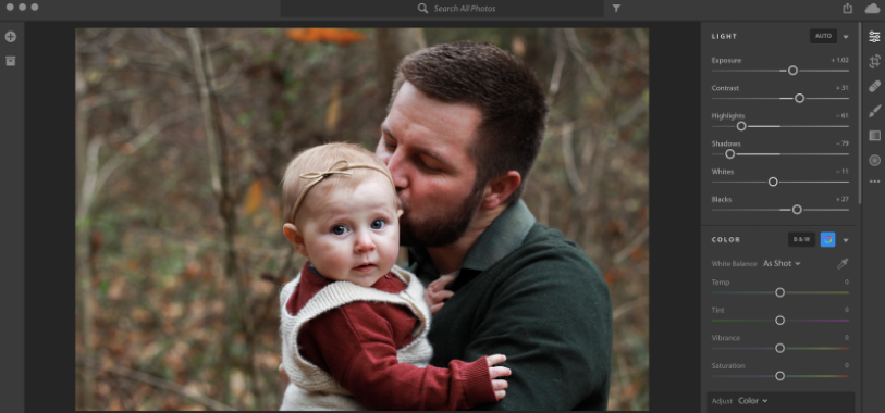 Using Light Adjustment tools in Lightroom to enhance a Fall photo