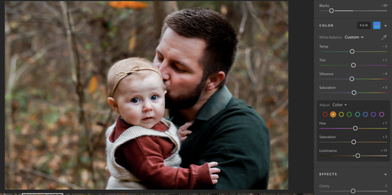 Using Color Adjustment tools in Lightroom to enhance a Fall photo