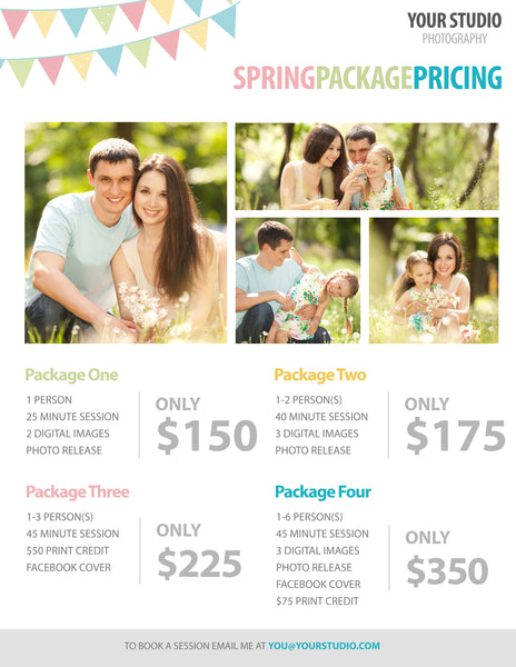 free photography template spring package pricing for photographers pretty presets for lightroom. Black Bedroom Furniture Sets. Home Design Ideas