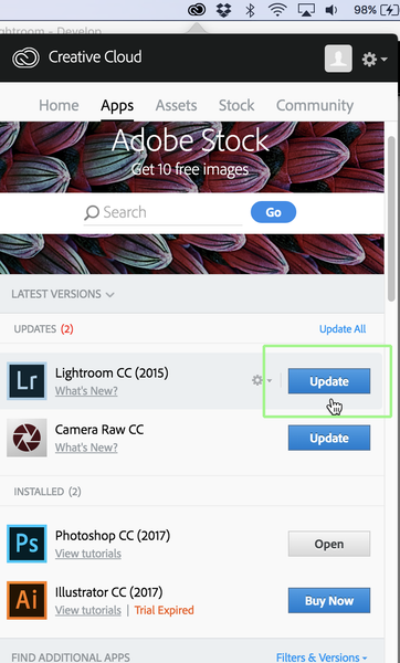 Keep your Lightroom CC current by checking for updates