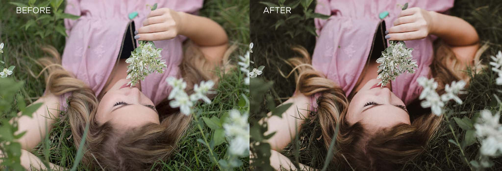 before and after using dark and moody preset