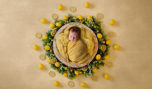 Lemon Yellow Wreath Newborn Digital Backdrop