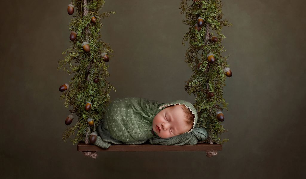 Newborn Digital Backdrop: Woodland Forest Swing