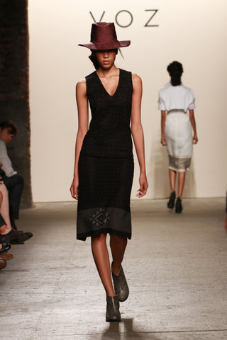 Look 10: Esthe, Cura Dress in black linen eyelet, with hand-loomed pima cotton and alpaca textile