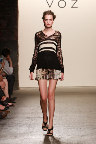 Look 11: Victoria, Jacky Sweater hand knit black and white pima cotton Ko Racer Shorts in artisanally dyed sueded charmeuse silk