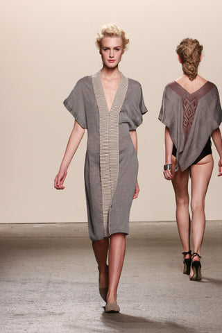 Look 19: Caroline, Dress Kuru in organic grey voile with hand-loomed pima cotton and alpaca textile