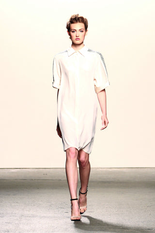 Lineas Shirt Dress in cream silk with hand-loomed pima cotton and alpaca textile.