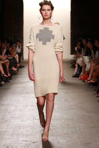 Look 20: Lauren, Dress Cruz in cream, hand knit pima cotton with baby alpaca detail