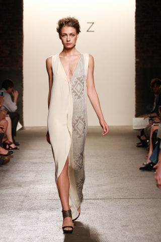 Look 24: Maria, Cala Dress in cream silk with hand-loomed stars in pima