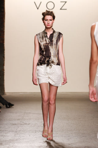 Look 4: Lauren, High Waisted Shorts in white linen eyelet Mandarin Tunic in artisanally dyed sueded charmeuse silk