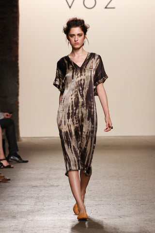 Look 6: Kelsey, Dress Ko in artisanally dyed sueded charmeuse silk