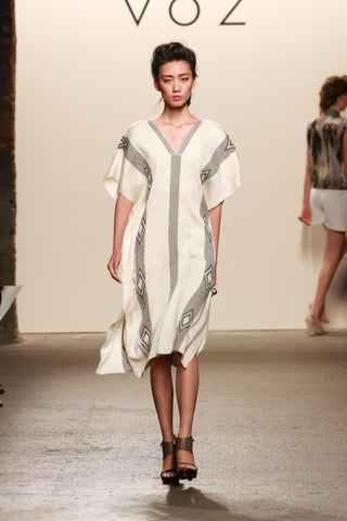Look 5: Lu, High Nina Dress hand-loomed ivory pima cotton with baby alpaca diamond detail