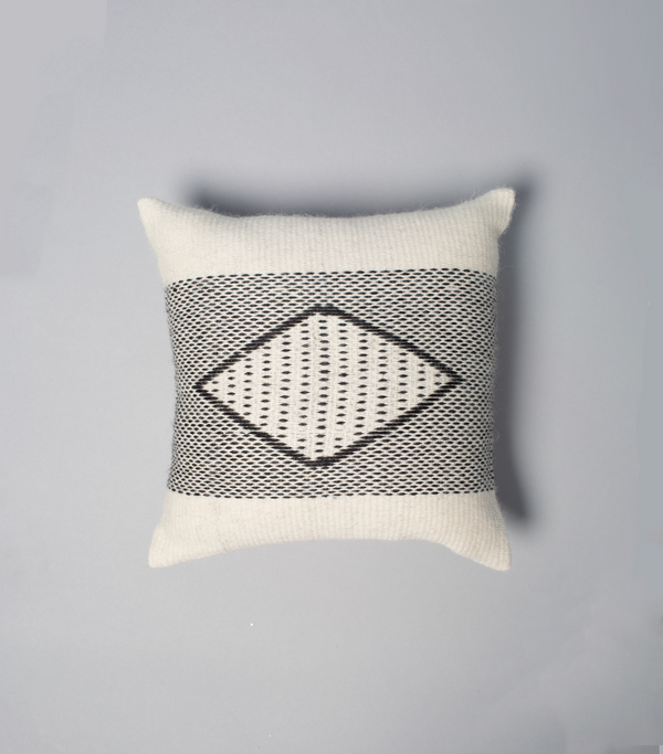 Diamante Square Textile Pillow in Ivory