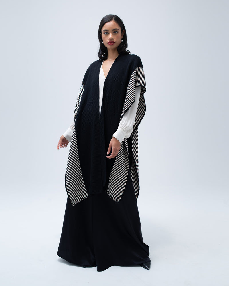 Striped Edge Caftan in Merino