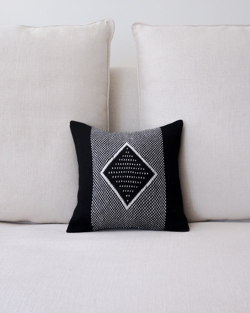 Diamante Square Textile Small Pillow in Black