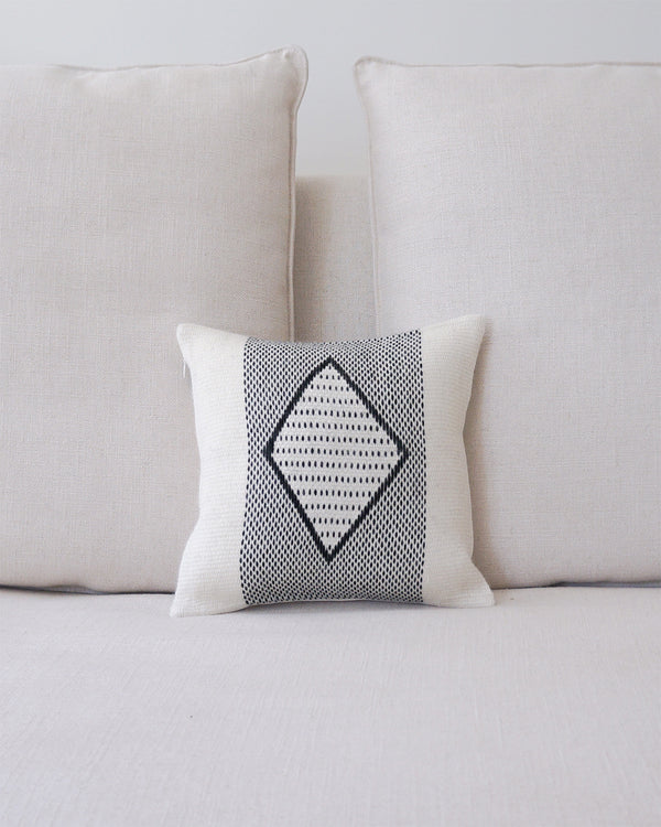 Diamante Square Textile Small Pillow in Ivory