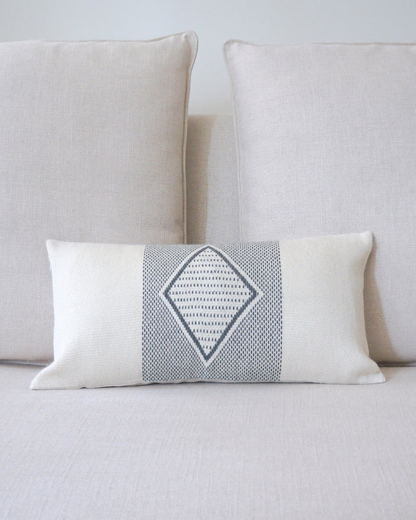 Diamante Lumbar Pillow with Border in Ivory