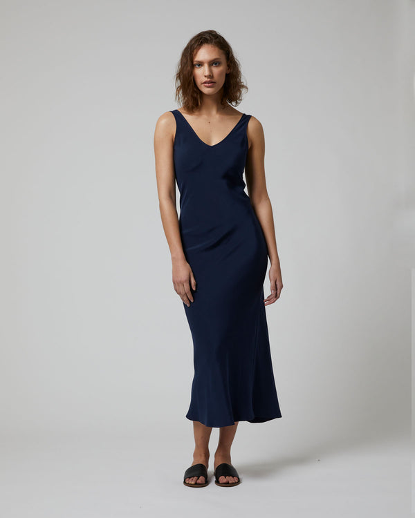 Double V Slip Dress in Silk Crepe