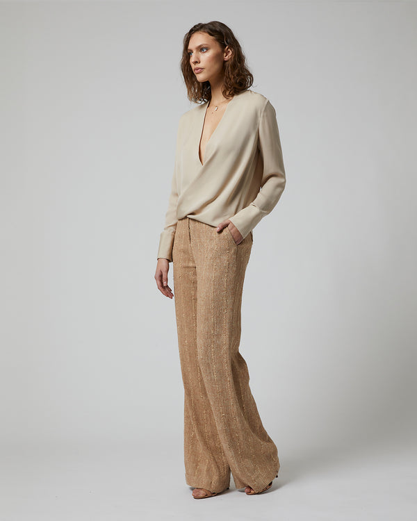Raw Silk Wide Leg Trouser