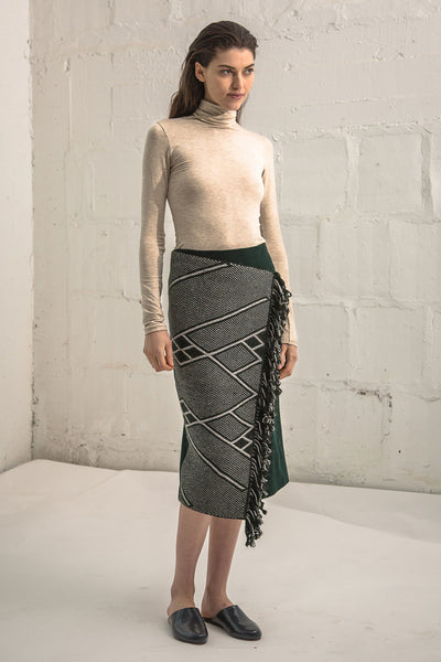 Pencil Wrap Skirt Che - Forest with Charcoal detail