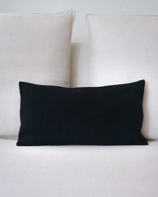 Solid Lumbar Pillow in Black Wool