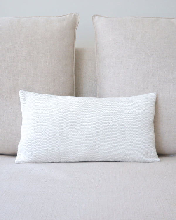 Solid Lumbar Pillow in Ivory Cotton