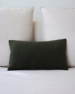 Olive Green Solid Lumbar Pillow