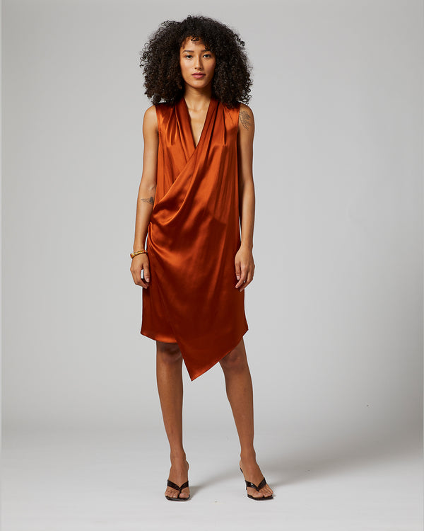 Asymmetrical Wrap Midi Dress