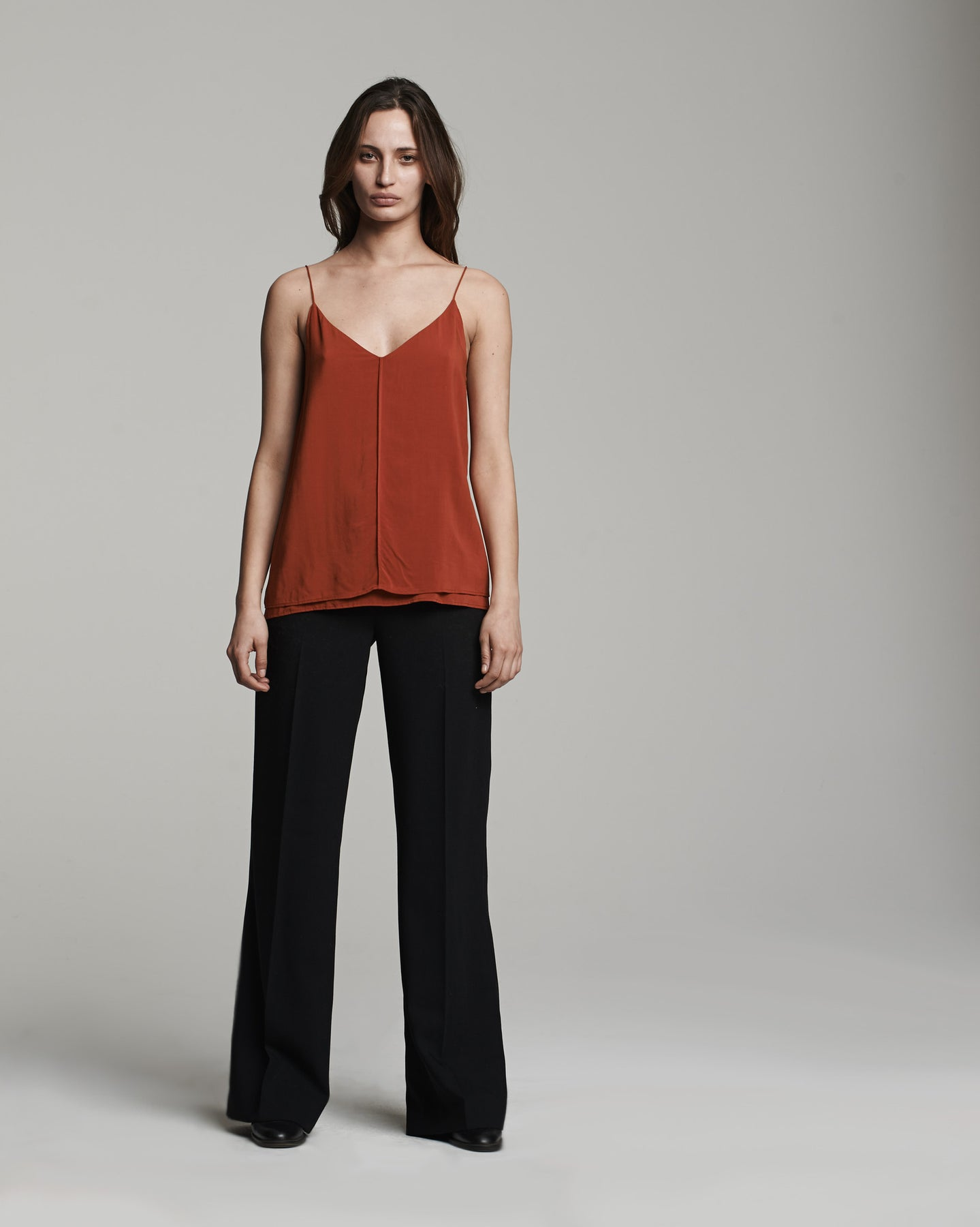 Double Layer Cami Tank in Rust (front)