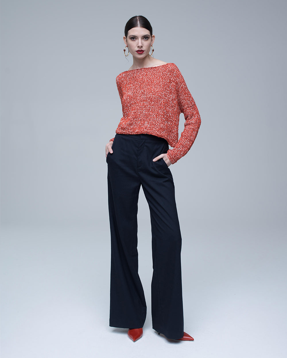 87eb630b2c8b96 Blood Orange · Blood Orange Twist Cropped Sweater ...