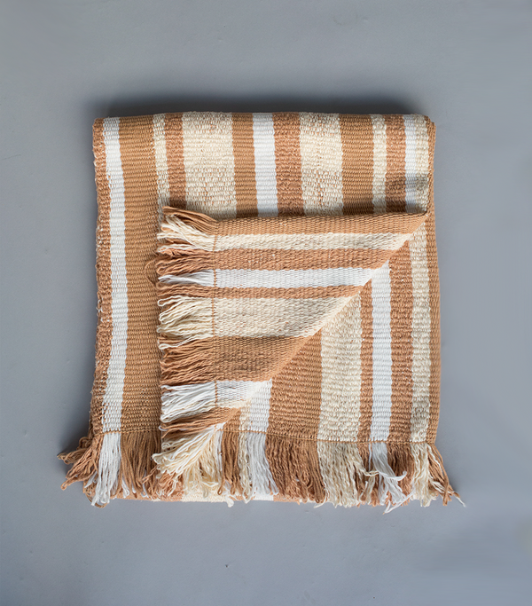 Gradient Stripes Blanket in Apricot