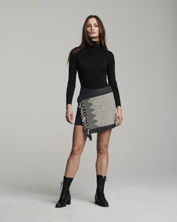 Mini Wrap Skirt - Black with Ivory design (front)