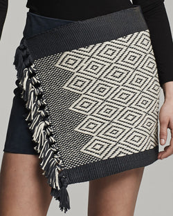 Mini Wrap Skirt - Black with Ivory design (detail)