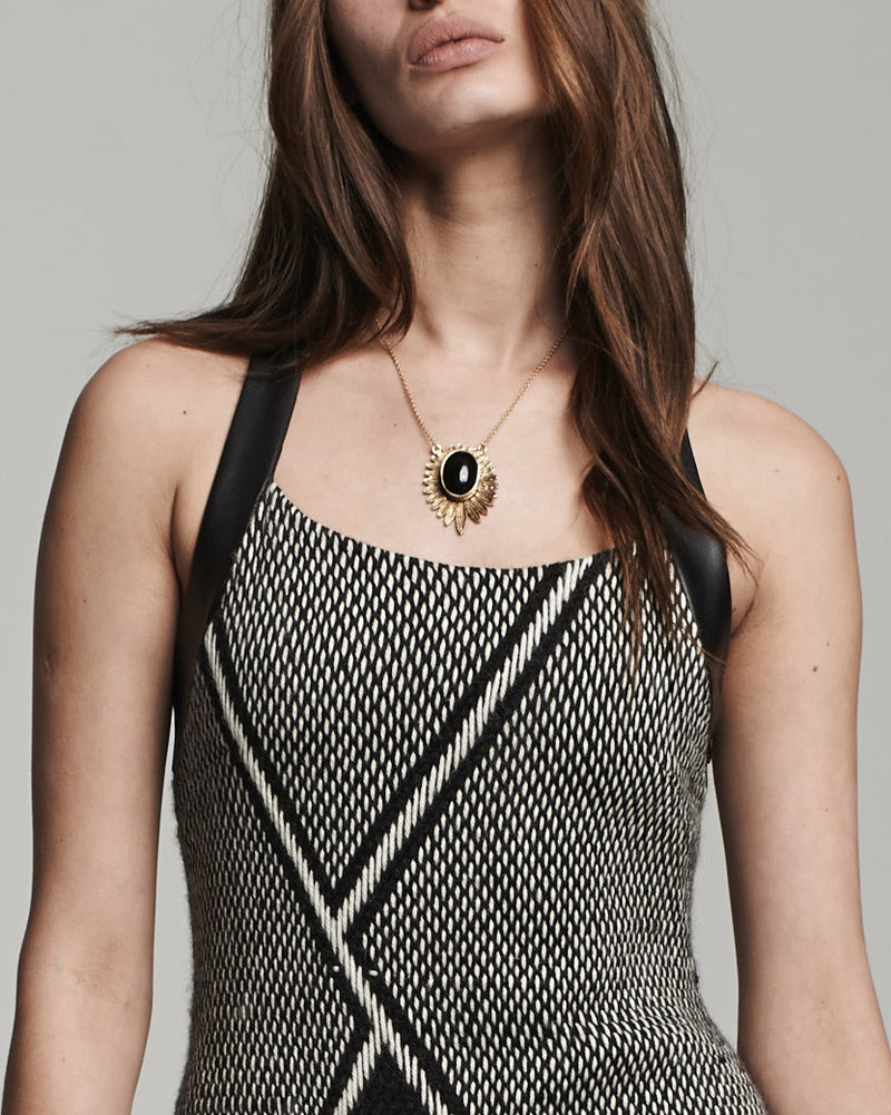 Racerback Dress - Black with White (detail)