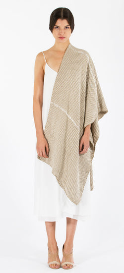 Lineas Shawl: Straight Pima cotton - sand with ivory